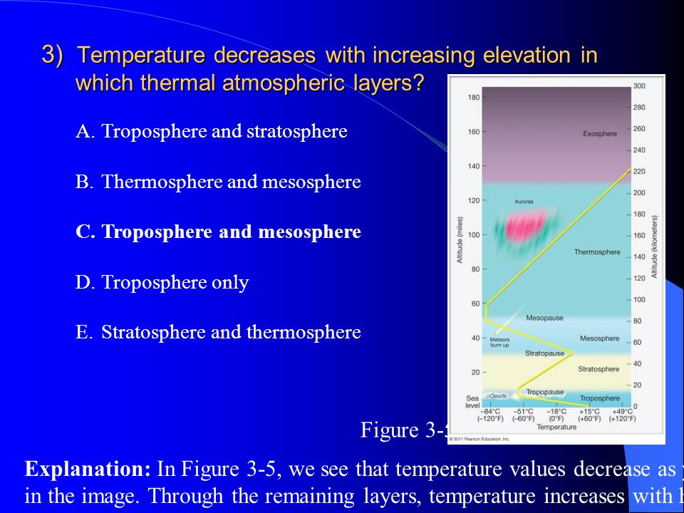 3) Temperature decreases with increasing elevation in which thermal atmospheric layers? A.Troposphere and stratosphere B.Thermosphere and mesosphere C
