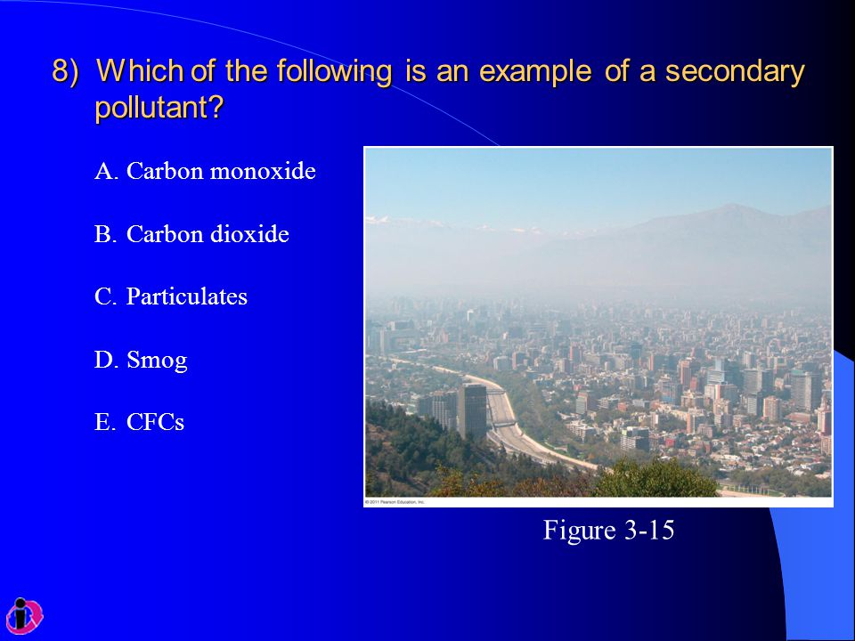 8) Which of the following is an example of a secondary pollutant? A.Carbon monoxide B.Carbon dioxide C.Particulates D.Smog E.CFCs Figure 3-15