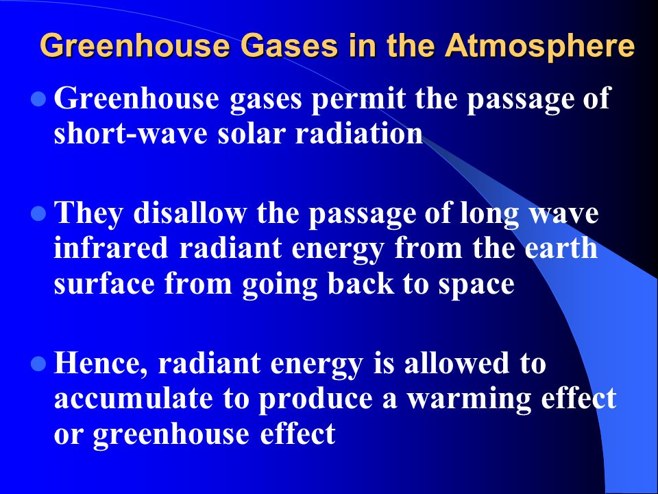 Greenhouse Gases in the Atmosphere Greenhouse gases permit the passage of short-wave solar radiation They disallow the passage of long wave infrared r