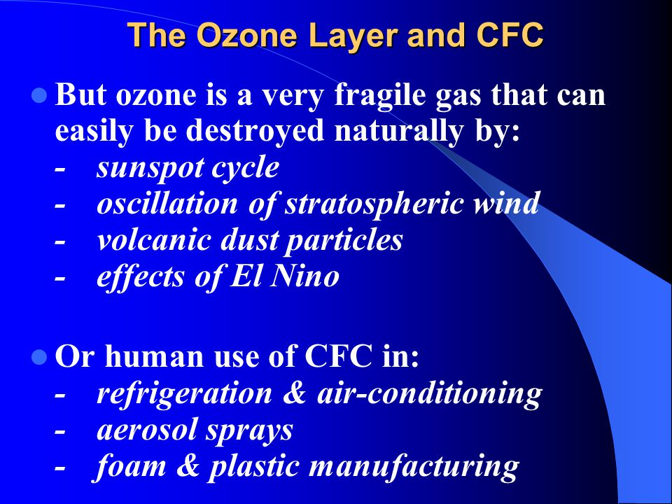The Ozone Layer and CFC But ozone is a very fragile gas that can easily be destroyed naturally by: -sunspot cycle -oscillation of stratospheric wind -