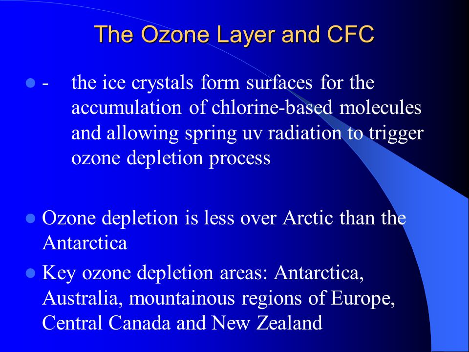 The Ozone Layer and CFC -the ice crystals form surfaces for the accumulation of chlorine-based molecules and allowing spring uv radiation to trigger o