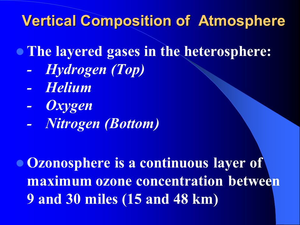 Vertical Composition of Atmosphere The layered gases in the heterosphere: -Hydrogen (Top) -Helium -Oxygen -Nitrogen (Bottom) Ozonosphere is a continuo