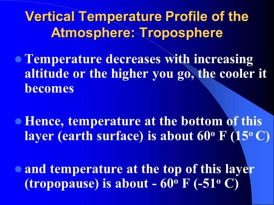 Vertical Temperature Profile of the Atmosphere: Troposphere Temperature decreases with increasing altitude or the higher you go, the cooler it becomes