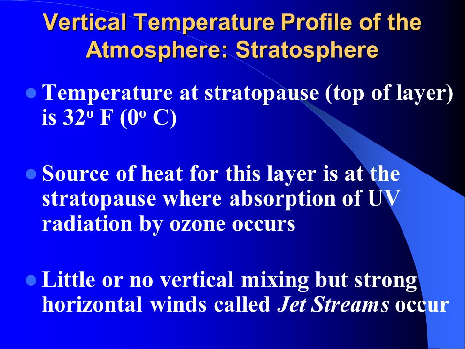 Vertical Temperature Profile of the Atmosphere: Stratosphere Temperature at stratopause (top of layer) is 32 o F (0 o C) Source of heat for this layer