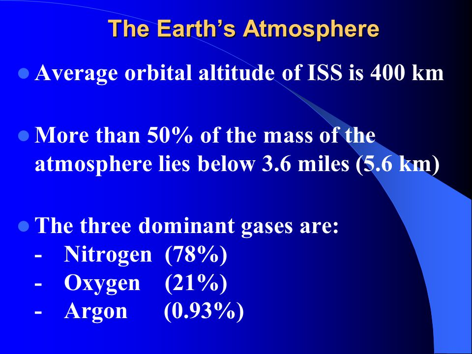 The Earth's Atmosphere Average orbital altitude of ISS is 400 km More than 50% of the mass of the atmosphere lies below 3.6 miles (5.6 km) The three d