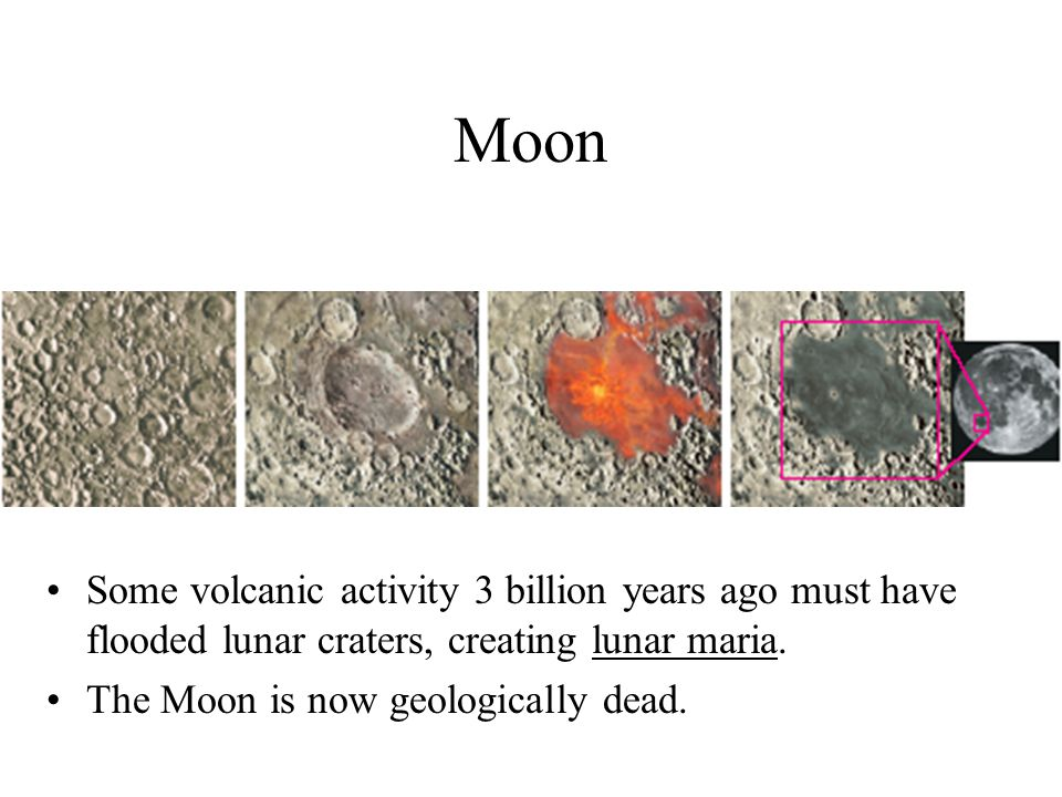 Moon Some volcanic activity 3 billion years ago must have flooded lunar craters, creating lunar maria. The Moon is now geologically dead.