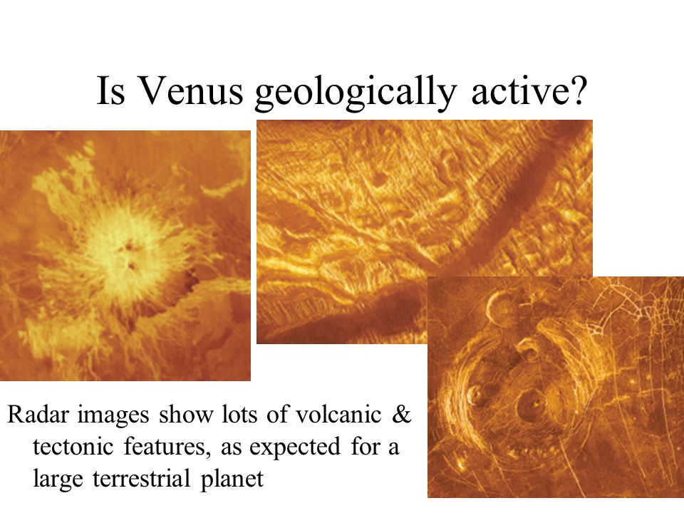 Is Venus geologically active? Radar images show lots of volcanic & tectonic features, as expected for a large terrestrial planet