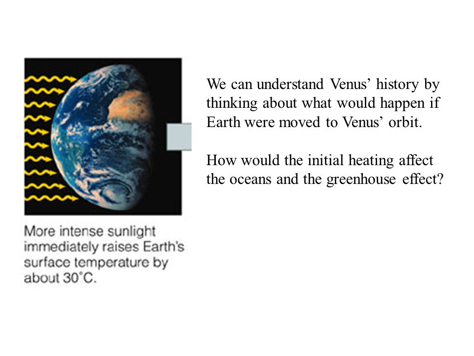 We can understand Venus' history by thinking about what would happen if Earth were moved to Venus' orbit. How would the initial heating affect the oce