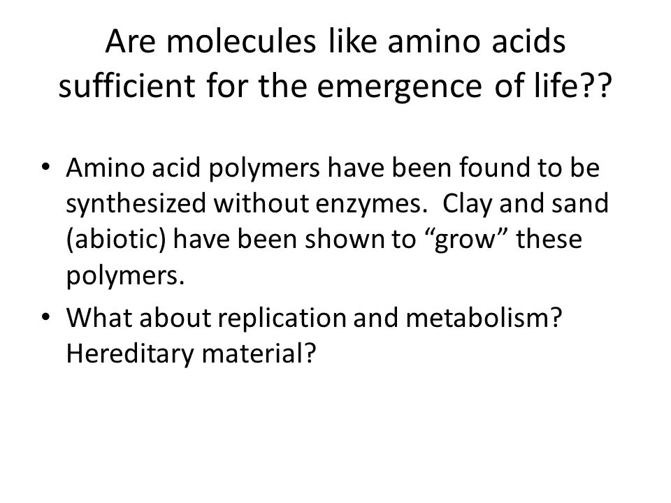 Are molecules like amino acids sufficient for the emergence of life?? Amino acid polymers have been found to be synthesized without enzymes. Clay and