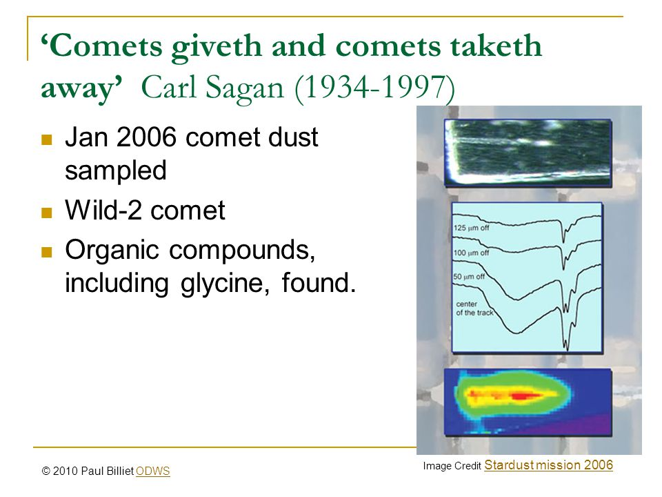'Comets giveth and comets taketh away' Carl Sagan (1934-1997) Jan 2006 comet dust sampled Wild-2 comet Organic compounds, including glycine, found. Im