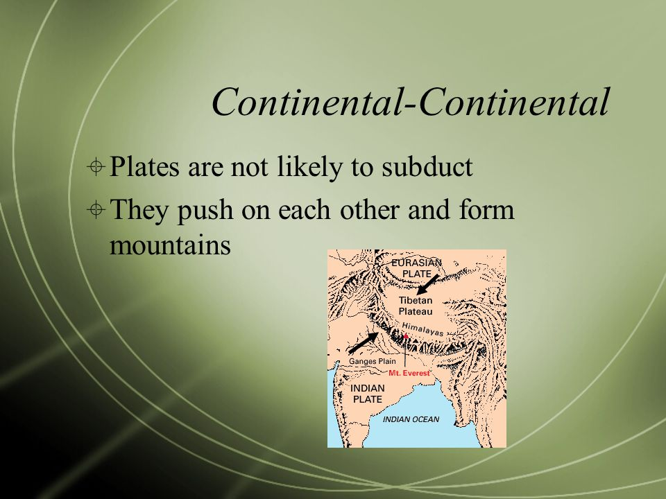 Continental-Continental  Plates are not likely to subduct  They push on each other and form mountains