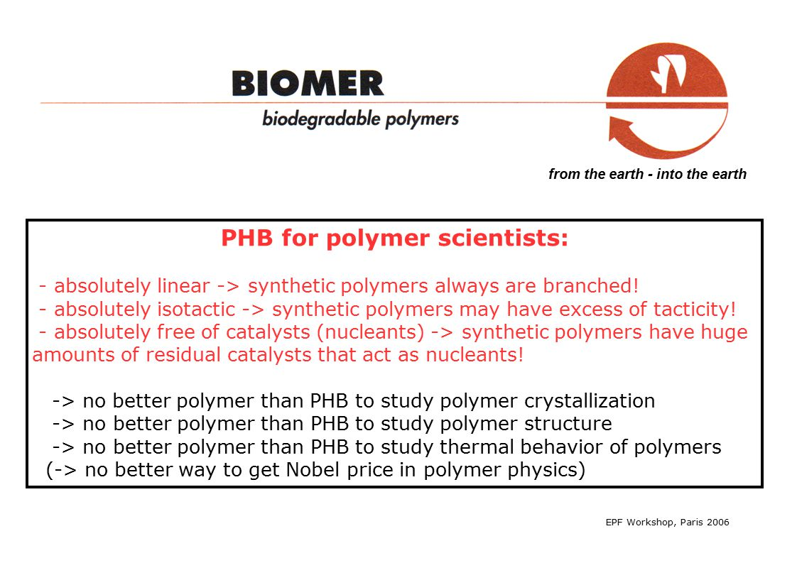 from the earth - into the earth PHB for polymer scientists: - absolutely linear -> synthetic polymers always are branched.