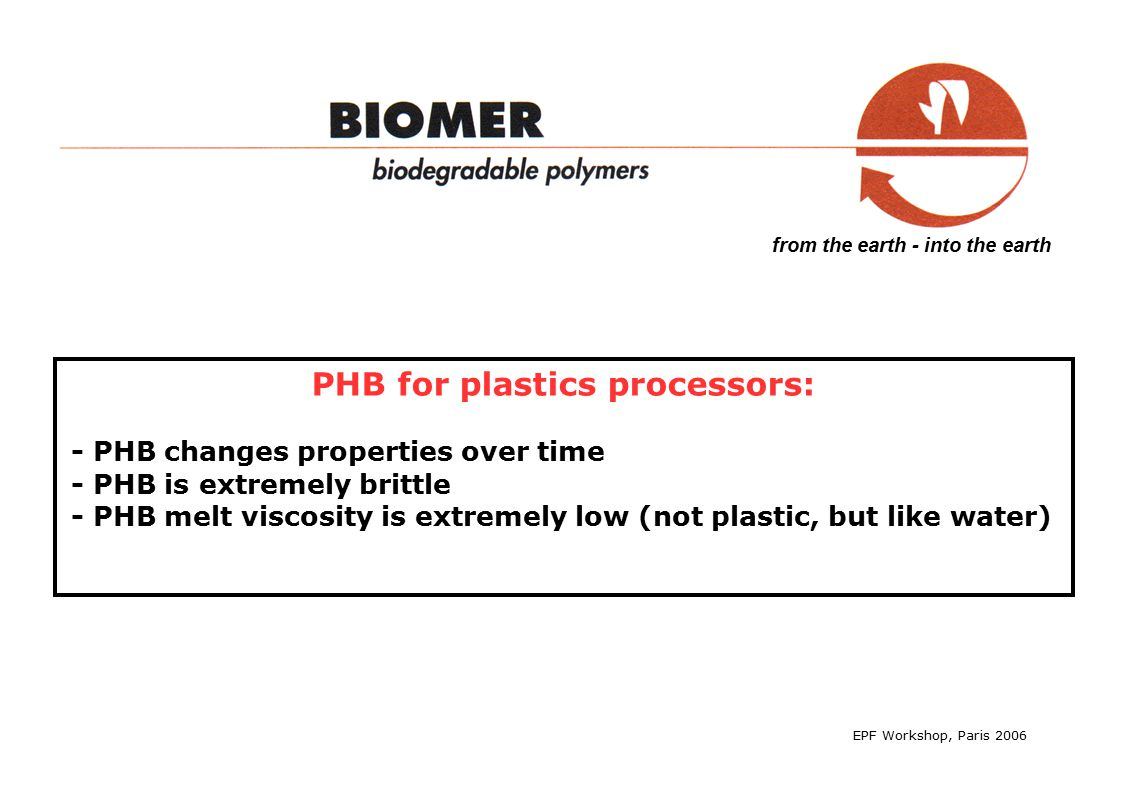 from the earth - into the earth PHB for plastics processors.