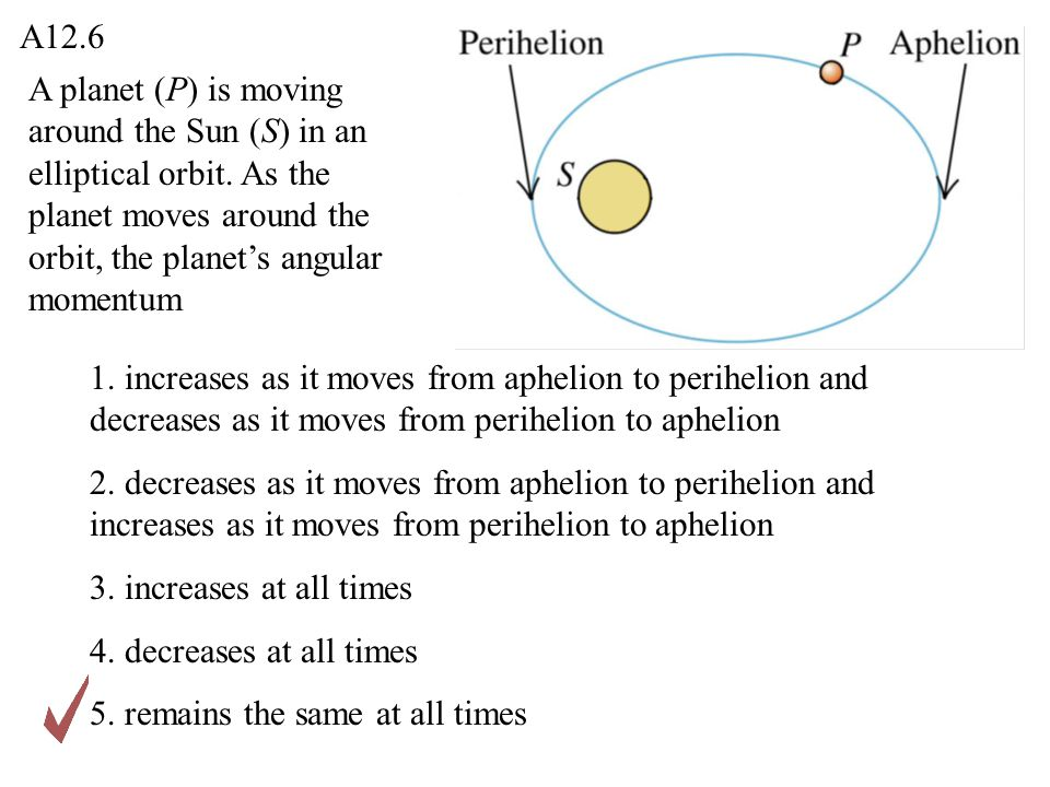 A planet (P) is moving around the Sun (S) in an elliptical orbit. As the planet moves around the orbit, the planet's angular momentum 1. increases as