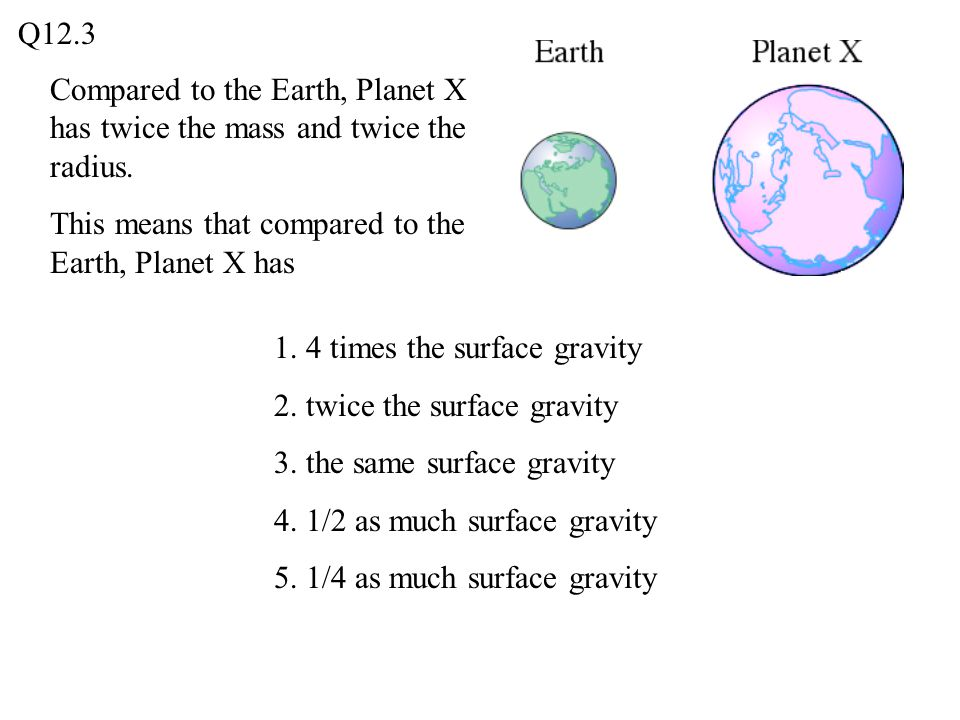 Compared to the Earth, Planet X has twice the mass and twice the radius. This means that compared to the Earth, Planet X has 1. 4 times the surface gr