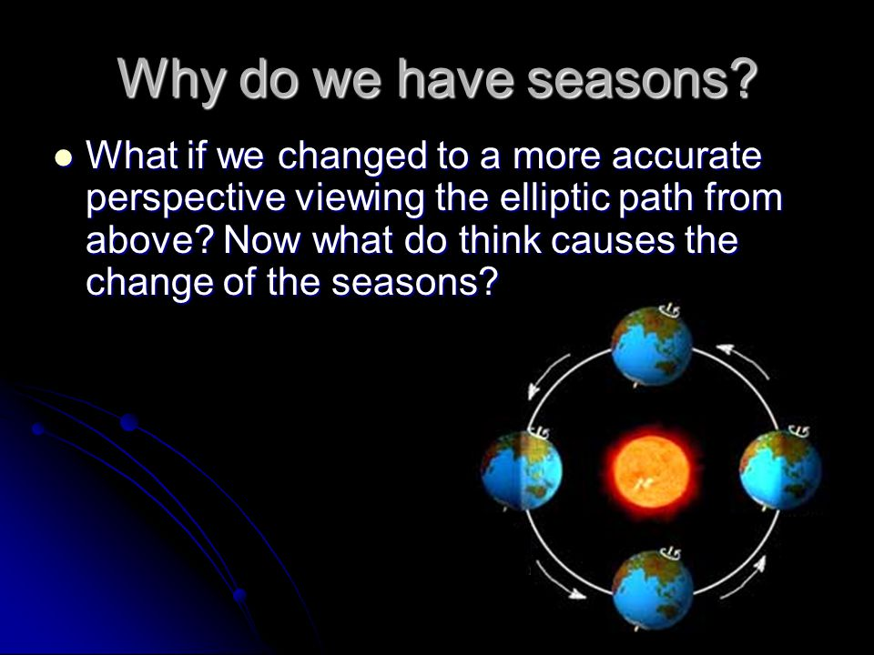 Why do we have seasons? What if we changed to a more accurate perspective viewing the elliptic path from above? Now what do think causes the change of