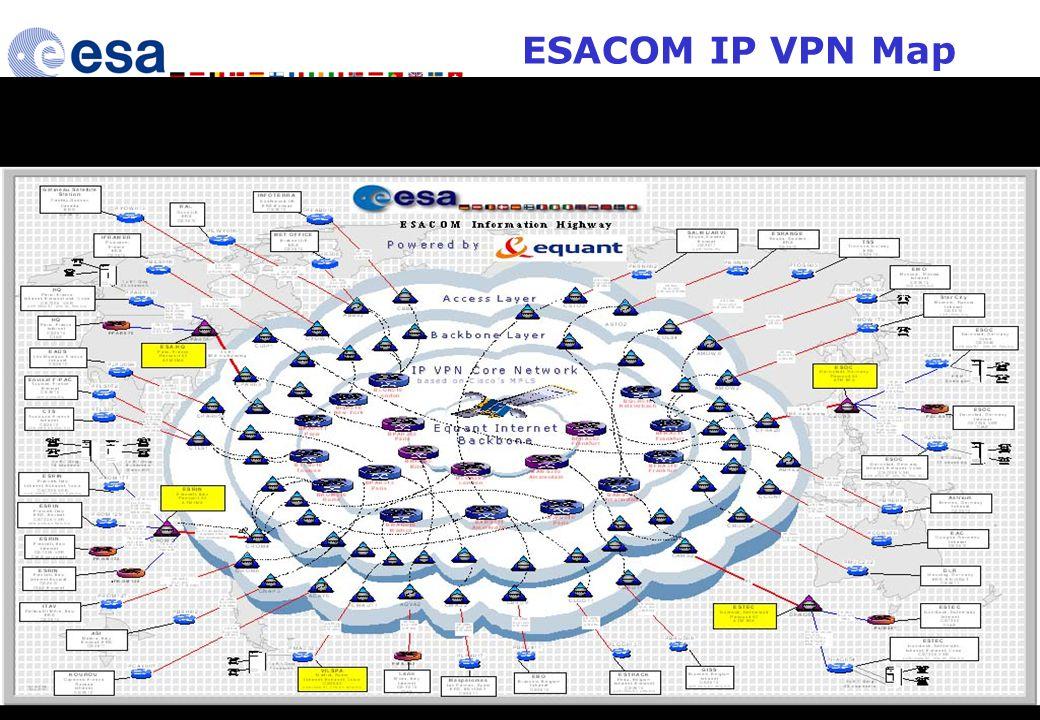 10 th June 2004 HiSEEN Presentation 30 ESACOM IP VPN Map