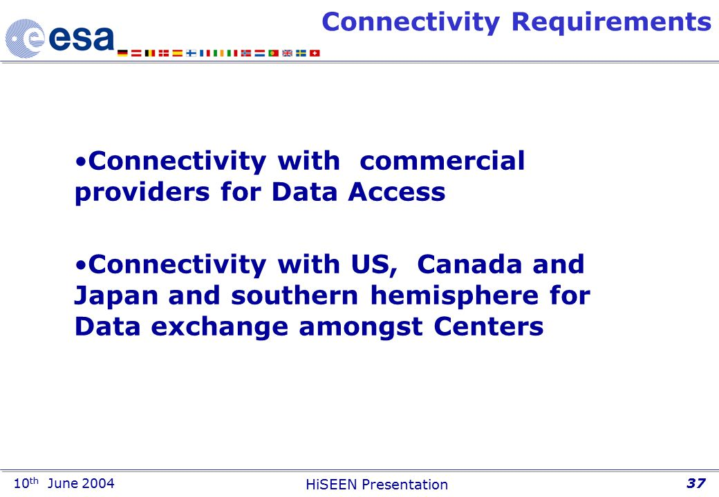 10 th June 2004 HiSEEN Presentation 37 Connectivity Requirements Connectivity with commercial providers for Data Access Connectivity with US, Canada and Japan and southern hemisphere for Data exchange amongst Centers