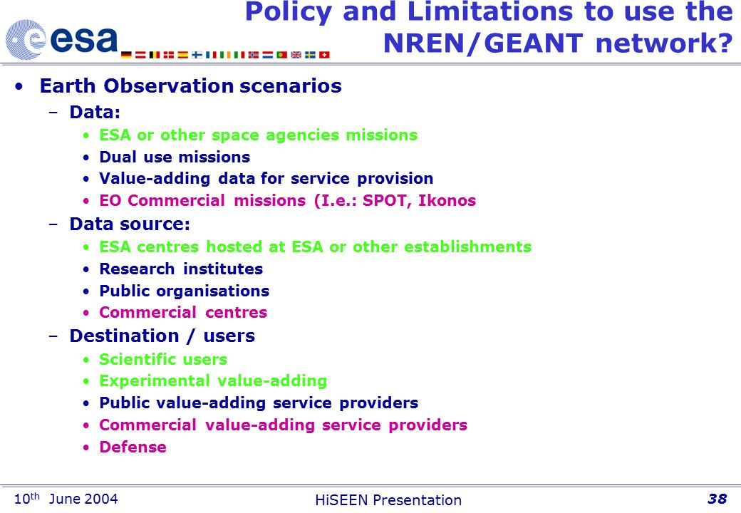 10 th June 2004 HiSEEN Presentation 38 Policy and Limitations to use the NREN/GEANT network.