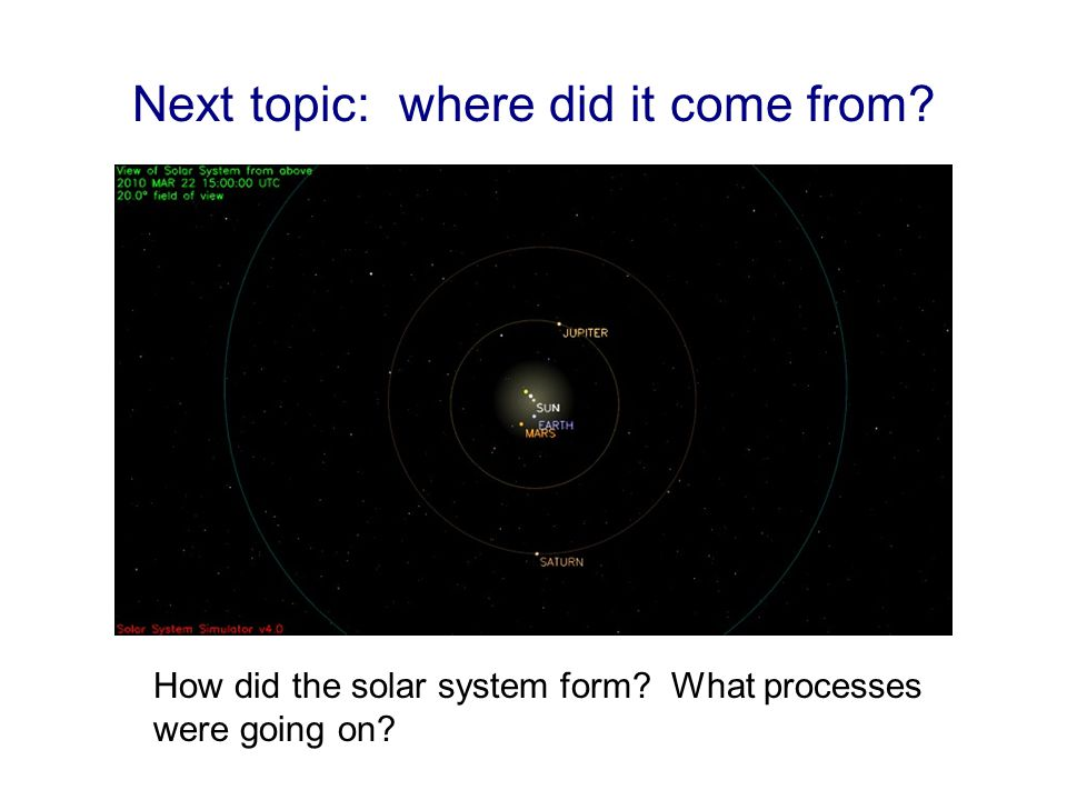 Next topic: where did it come from How did the solar system form What processes were going on