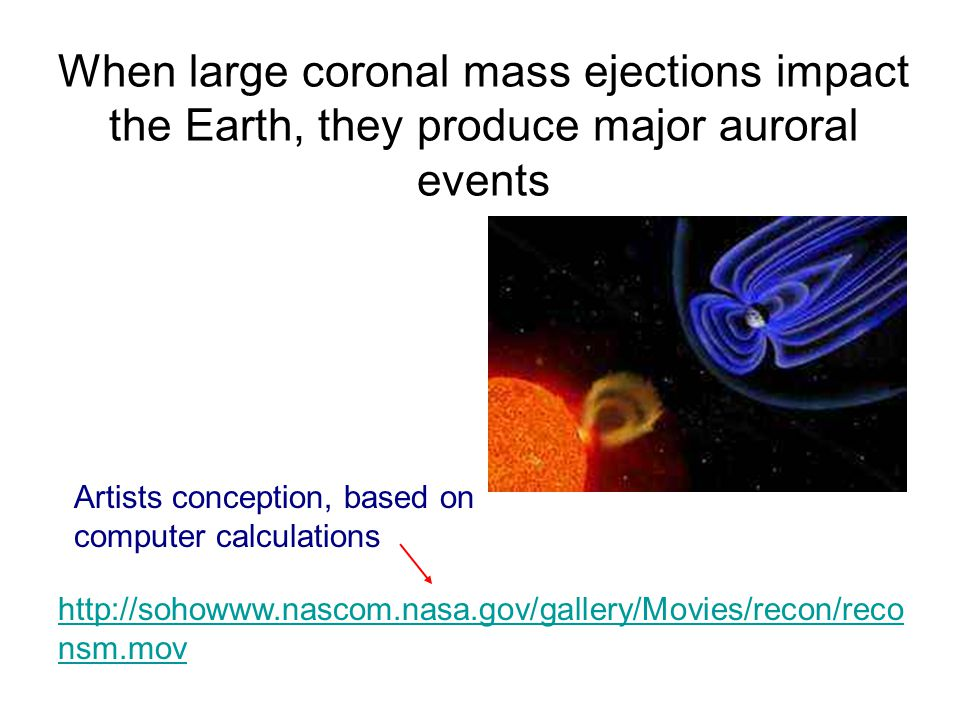 When large coronal mass ejections impact the Earth, they produce major auroral events http://sohowww.nascom.nasa.gov/gallery/Movies/recon/reco nsm.mov Artists conception, based on computer calculations