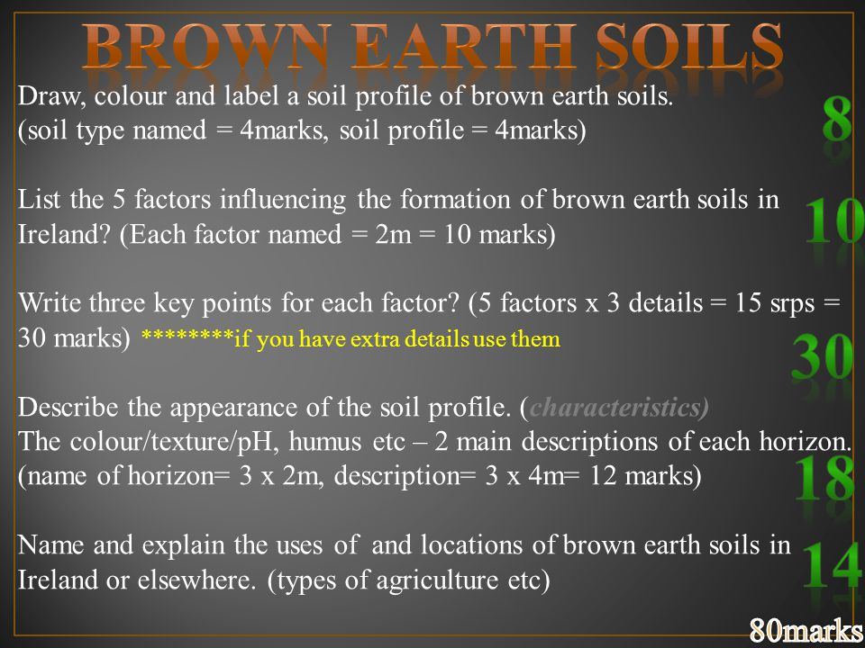 Draw, colour and label a soil profile of brown earth soils. (soil type named = 4marks, soil profile = 4marks) List the 5 factors influencing the forma