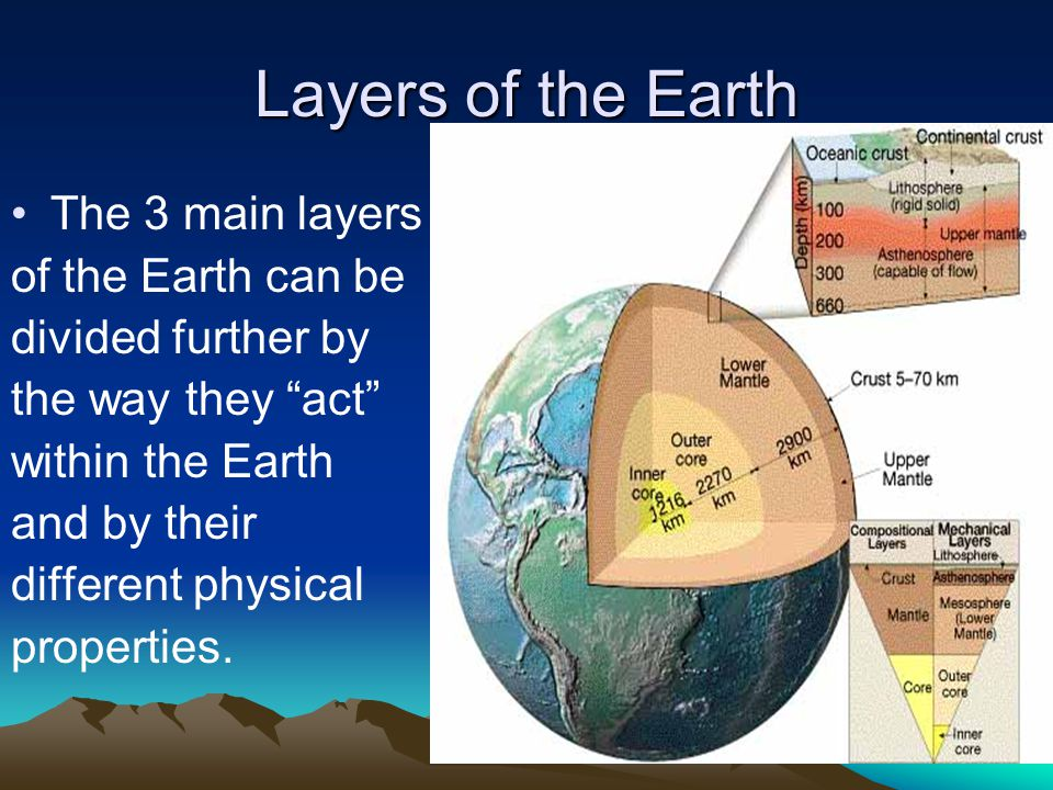 "Layers of the Earth The 3 main layers of the Earth can be divided further by the way they ""act"" within the Earth and by their different physical prope"