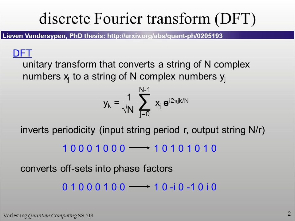 Vorlesung Quantum Computing SS '08 2 discrete Fourier transform (DFT) DFT unitary transform that converts a string of N complex numbers x j to a strin