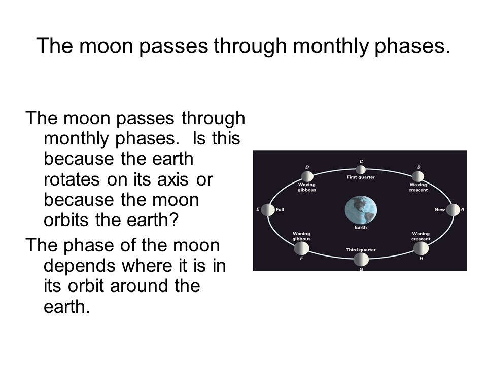 The moon passes through monthly phases. The moon passes through monthly phases. Is this because the earth rotates on its axis or because the moon orbi