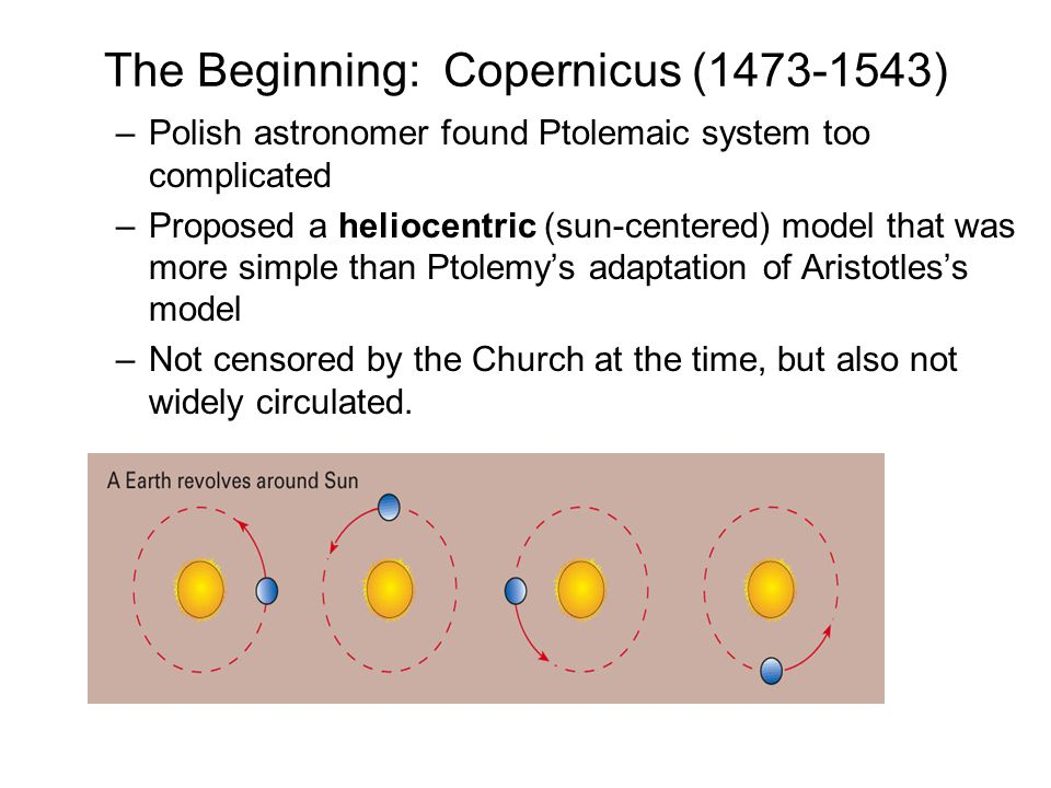 The Beginning: Copernicus (1473-1543) –Polish astronomer found Ptolemaic system too complicated –Proposed a heliocentric (sun-centered) model that was
