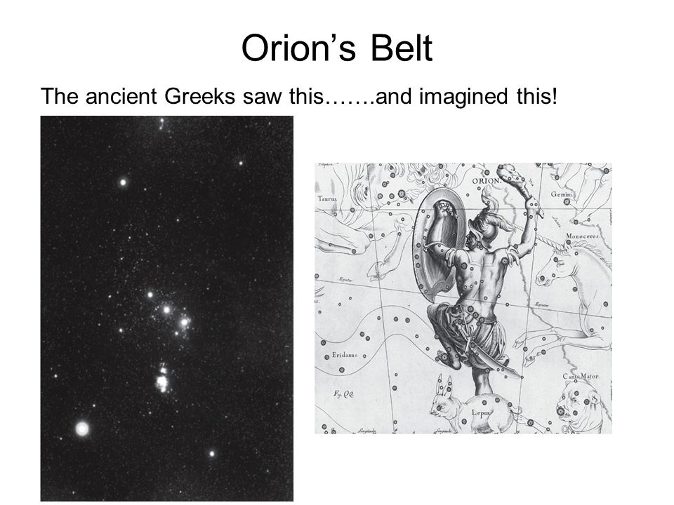 Orion's Belt The ancient Greeks saw this…….and imagined this!