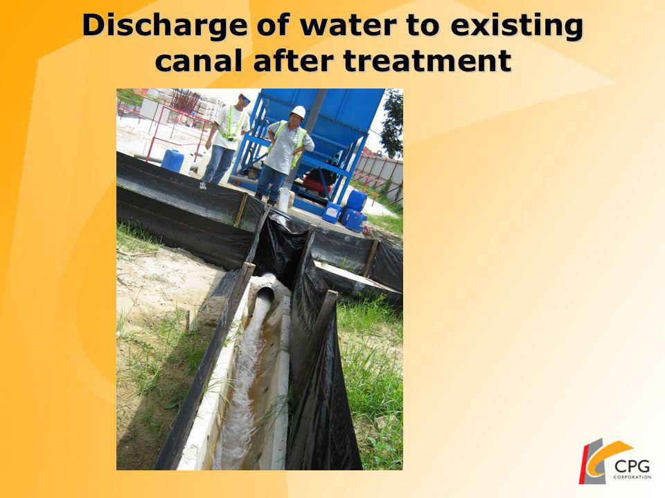 Discharge of Slurry after water treatment Slurry discharged to slurry collection area