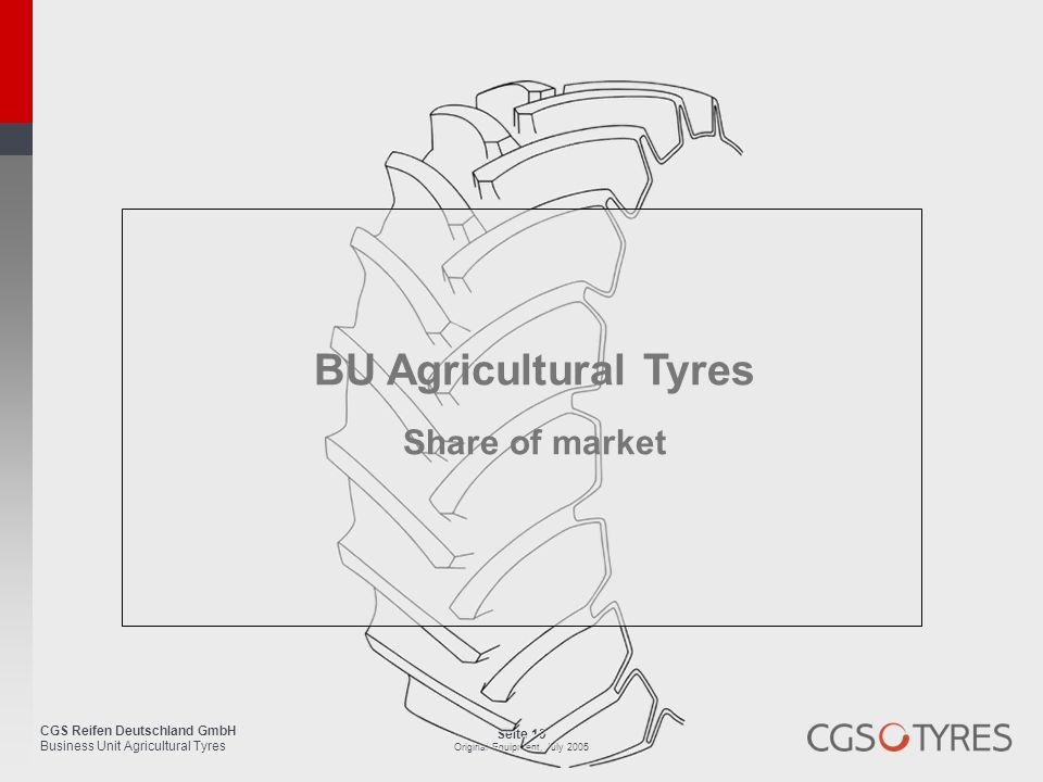 CGS Reifen Deutschland GmbH Business Unit Agricultural Tyres Seite 13 Original Equipment, July 2005 BU Agricultural Tyres Share of market