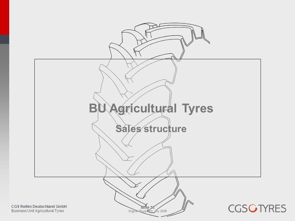 CGS Reifen Deutschland GmbH Business Unit Agricultural Tyres Seite 18 Original Equipment, July 2005 BU Agricultural Tyres Sales structure
