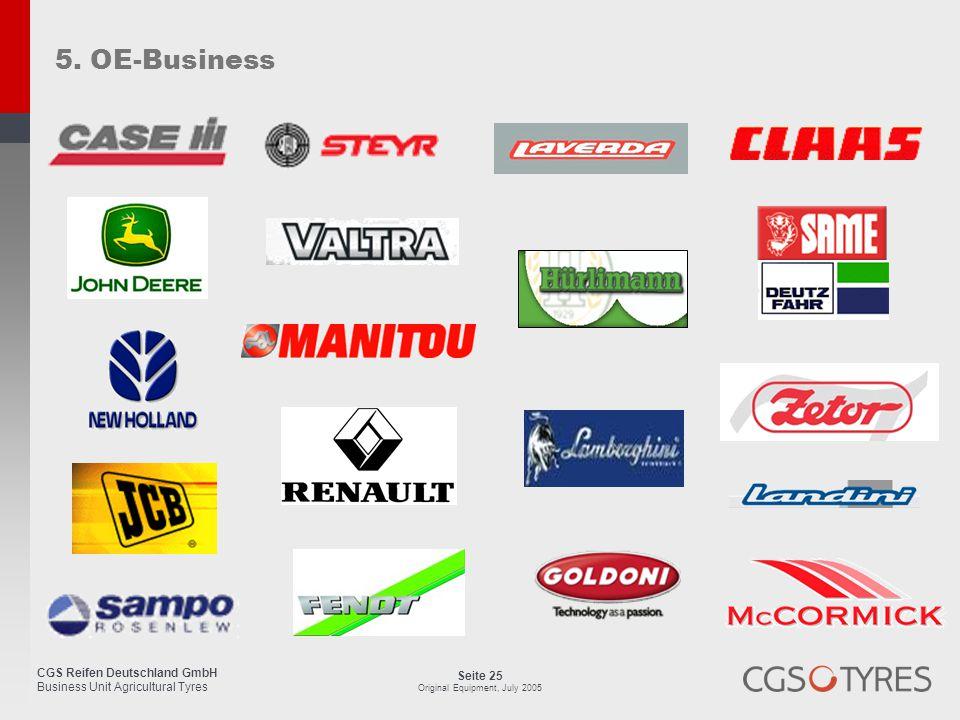 CGS Reifen Deutschland GmbH Business Unit Agricultural Tyres Seite 25 Original Equipment, July 2005 5. OE-Business