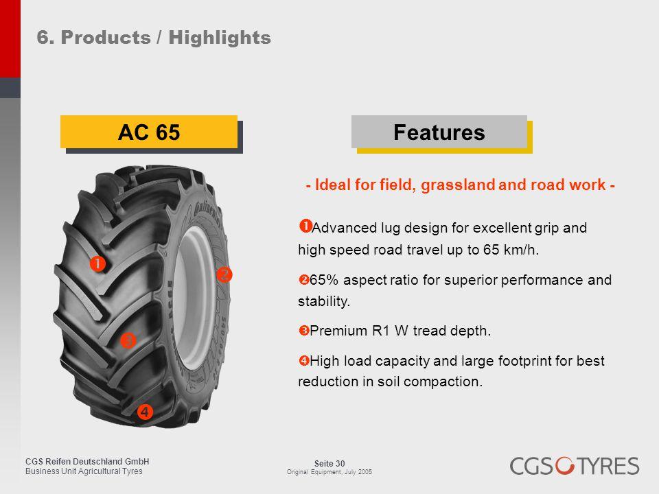 CGS Reifen Deutschland GmbH Business Unit Agricultural Tyres Seite 30 Original Equipment, July 2005 AC 65  Advanced lug design for excellent grip and