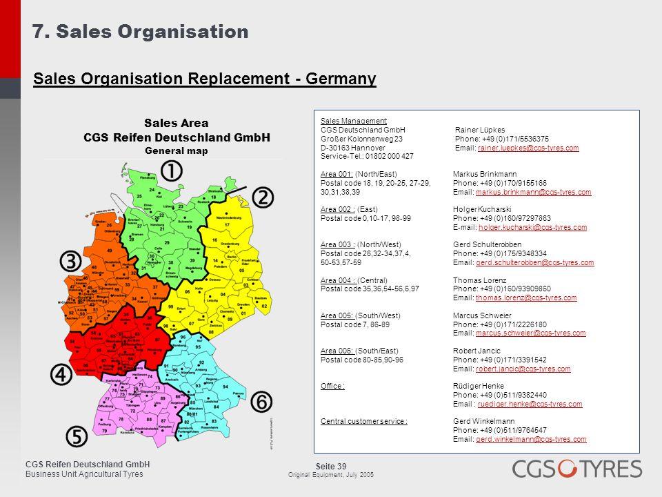 CGS Reifen Deutschland GmbH Business Unit Agricultural Tyres Seite 39 Original Equipment, July 2005 7. Sales Organisation Sales Organisation Replaceme