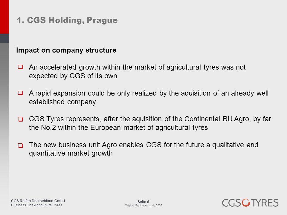 CGS Reifen Deutschland GmbH Business Unit Agricultural Tyres Seite 47 Original Equipment, July 2005 Customer Service Manager 8.