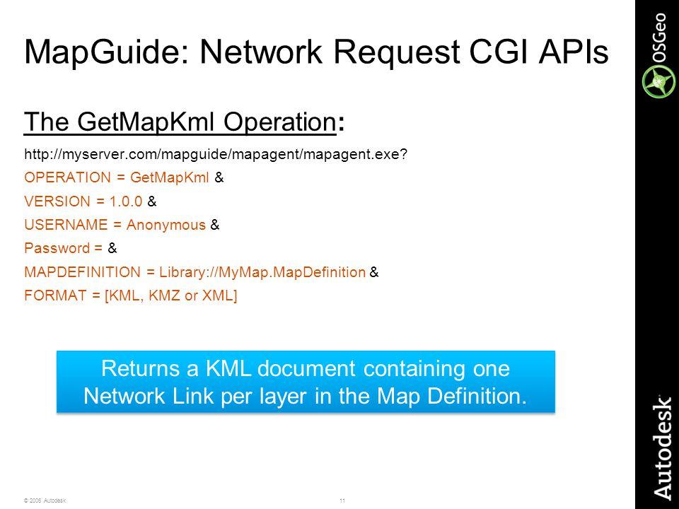11© 2006 Autodesk MapGuide: Network Request CGI APIs The GetMapKml Operation: http://myserver.com/mapguide/mapagent/mapagent.exe.