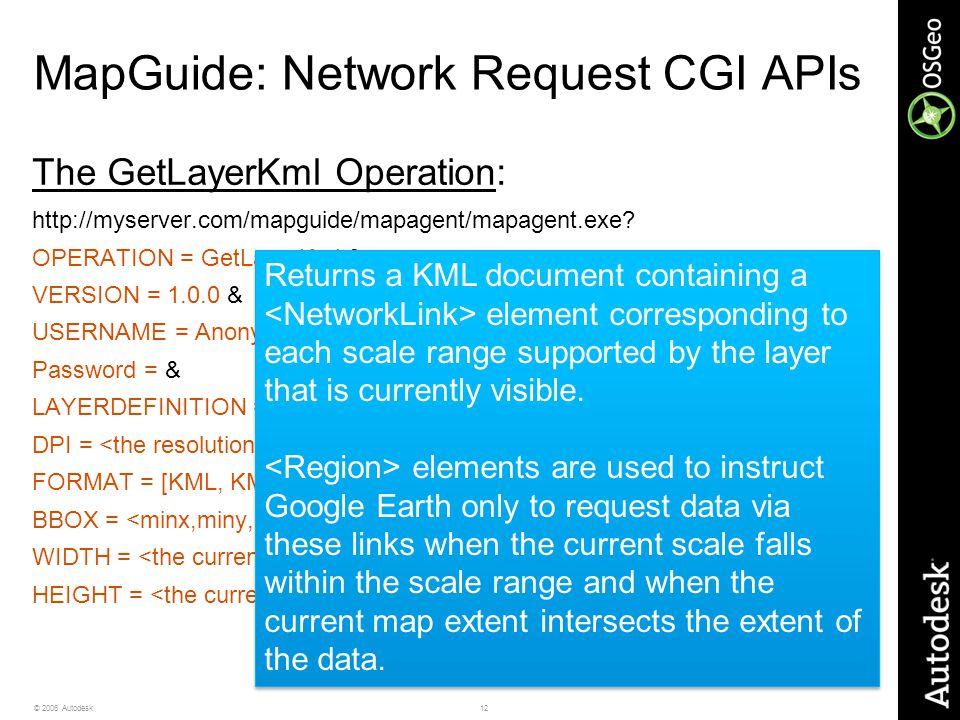 12© 2006 Autodesk MapGuide: Network Request CGI APIs The GetLayerKml Operation: http://myserver.com/mapguide/mapagent/mapagent.exe? OPERATION = GetLay