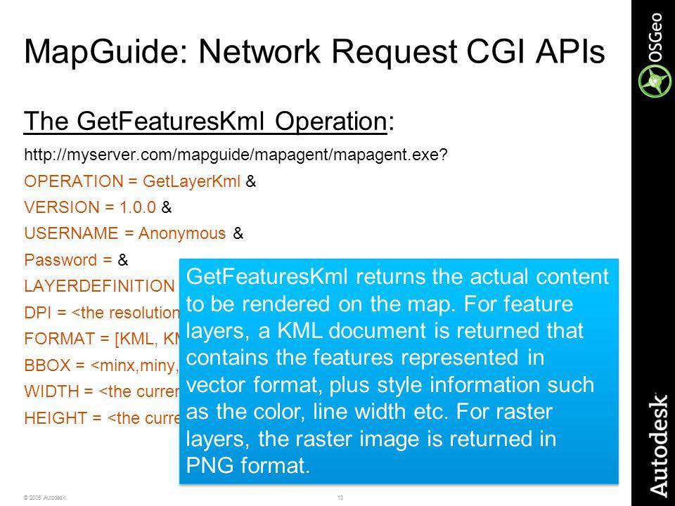 13© 2006 Autodesk MapGuide: Network Request CGI APIs The GetFeaturesKml Operation: http://myserver.com/mapguide/mapagent/mapagent.exe? OPERATION = Get