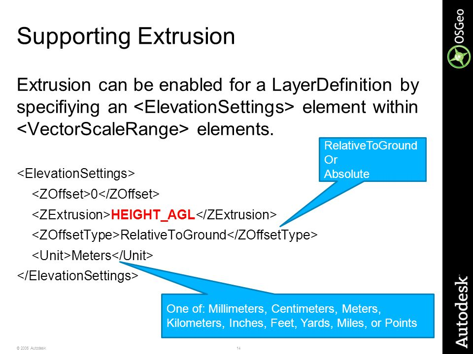 14© 2006 Autodesk Supporting Extrusion Extrusion can be enabled for a LayerDefinition by specifiying an element within elements. 0 HEIGHT_AGL Relative
