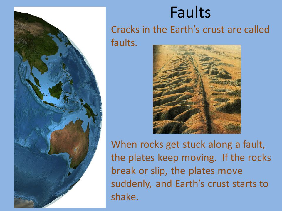 Earthquakes also happen when one plate sinks beneath another one, or when plates crash or grind past each other.