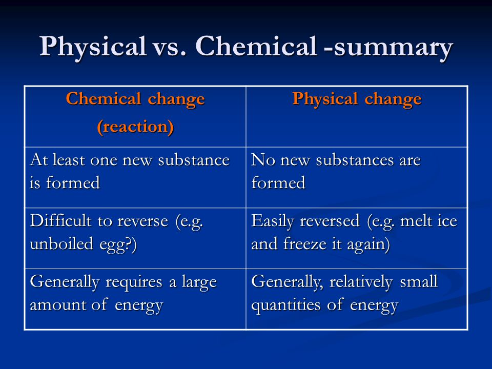 Physical vs. Chemical -summary Chemical change (reaction) Physical change At least one new substance is formed No new substances are formed Difficult