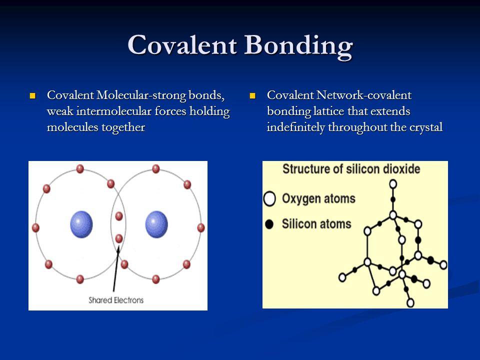 Covalent Bonding Covalent Molecular-strong bonds, weak intermolecular forces holding molecules together Covalent Molecular-strong bonds, weak intermol