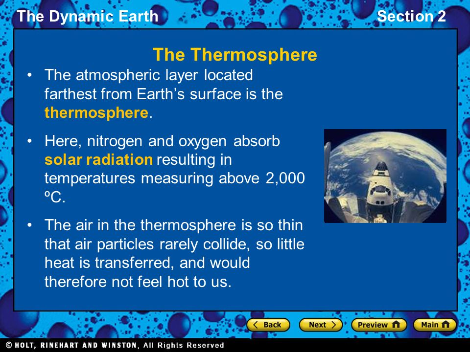 The Dynamic EarthSection 2 The Thermosphere The atmospheric layer located farthest from Earth's surface is the thermosphere.