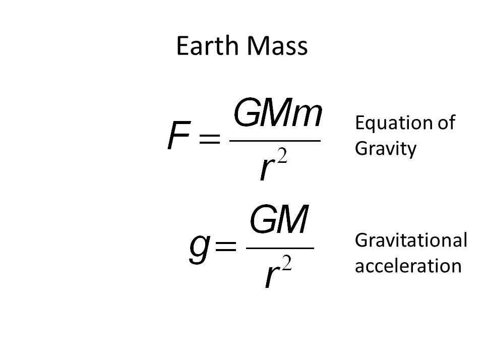 Earth Mass Equation of Gravity Gravitational acceleration