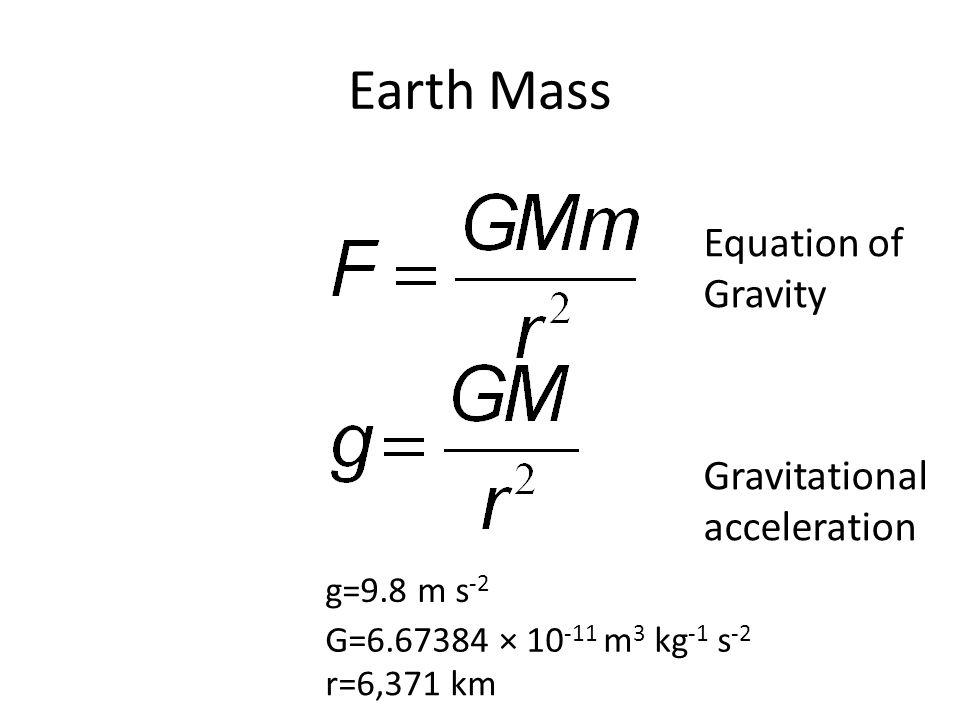 Earth Mass G=6.67384 × 10 -11 m 3 kg -1 s -2 r=6,371 km g=9.8 m s -2 Equation of Gravity Gravitational acceleration