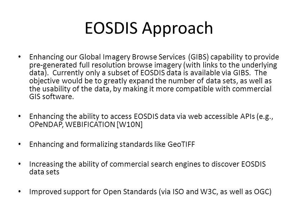 EOSDIS Approach Enhancing our Global Imagery Browse Services (GIBS) capability to provide pre-generated full resolution browse imagery (with links to