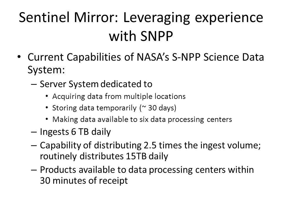 Sentinel Mirror: Leveraging experience with SNPP Current Capabilities of NASA's S-NPP Science Data System: – Server System dedicated to Acquiring data